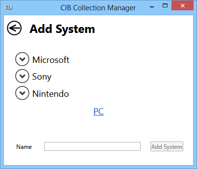 Screenshot of the initial 'add video game system' screen for CIB